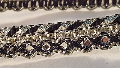 1.4cm- 2 meter Gorgeous black and gold sequins lace trim edging for decor sewing
