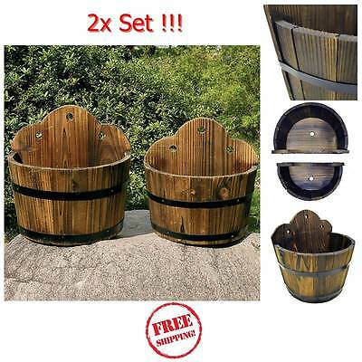 Whiskey Barrel Planter Pots 2x Set Solid Wooden Garden Outdoor Flower Plant Herb