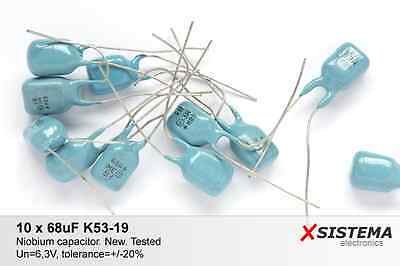 10 x 68uF 6,3V K53-19 [К53-19] High Quality Niobium Capacitors. NOS