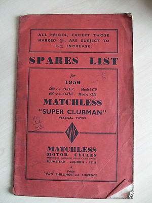 Genuine Matchless 1956 Super Clubman G9 G11  Illustrated Spare Parts List. 1956.