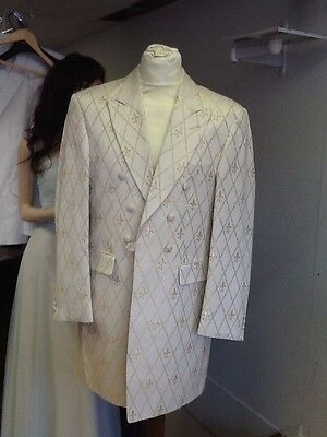 Men's Ivory And Gold Patterned Frock Coat