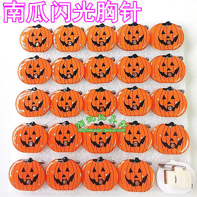 Lot Halloween pumpkins LED Flashing Light Up Badge/Brooch Pins Party Gifts M700