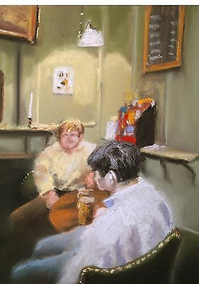 Corner Of The Pub; Original Pastel and Chalk Drawing