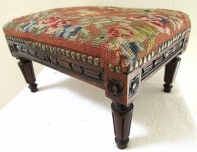 Antique Italian Petite French Country Louis XVI Carved Walnut Foot Stool Ottoman