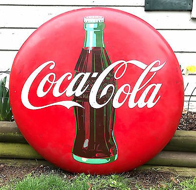 """Vintage 1950's COCA-COLA 36"""" COKE BUTTON SIGN- Must See!"""