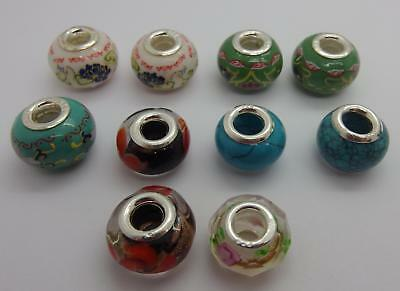 Mixed Job lot 10 x Stamped 925 Sterling Silver Beads Jewellery Making  #4
