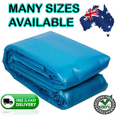 Thermal Solar Sun Swimming Pool Bubble Cover Sheet Blanket Blue Heat 400 Micron