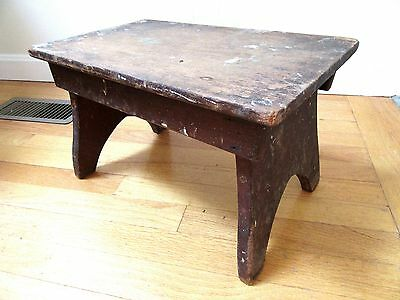 Primitive Antique Foot Stool Milking Farm Country Cricket Wood Patina Bootjack