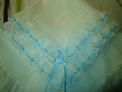 Beautiful boys WHITE/BLUE  baby  shawl ***NEW***