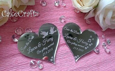 SAVE THE DATE Personalised wedding date acrylic fridge magnets, lovehearts