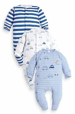 ВNWT NEXT Baby Boys' Babygrows • Blue Car Sleepsuits 3pk •100% Cotton • 0-3 Mons