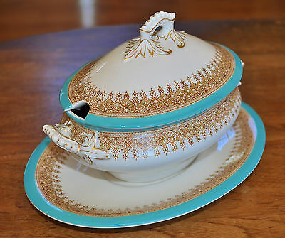 Lovely Antique Royal Worcester Turquoise Oval Tureen & Underplate W3277 1904