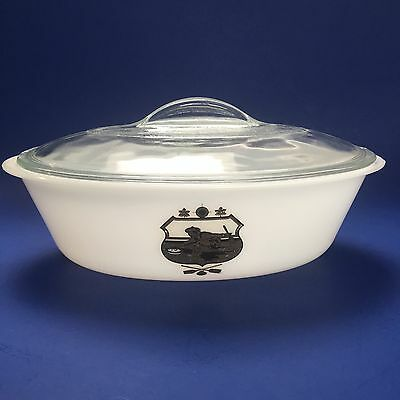 """Vintage Glasbake Curling 11"""" Oval Casserole Baking Dish with Lid"""