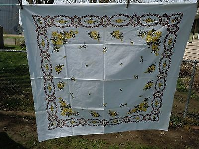 """Vintage Pretty Yellow Roses 46"""" X 50"""" Cotton Tablecloth, Light Stains, Startex??"""