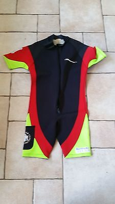 Beaver Ultimate Bermuda 5mm Shorty Wet Suit - Black / Green / Red - Sized XXL