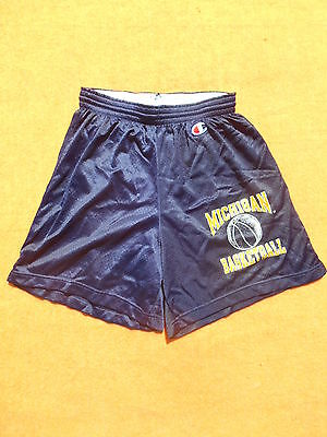 MICHIGAN Shorts Champion Basketball Team Ball NCAA Match Old School Vintage Blue