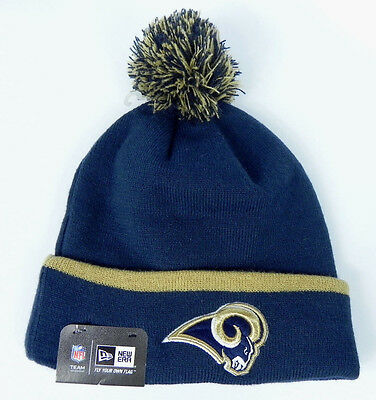 a796eaa39 Los Angeles Rams Nfl Knit New Era Cuffed Vintage Beanie 2-Tone Pom Cap Hat