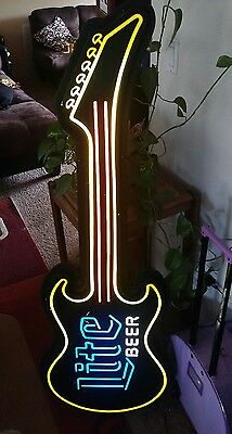 1991 Neon Lighted Miller Lite GUITAR Shaped Beer Advertising 55x20 Man Cave