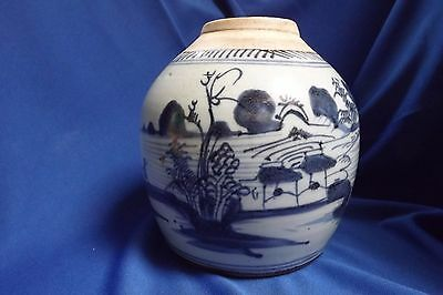 Antique Chinese Canton Blue & White 7 Inch High Ginger Jar No Lid Great Shape