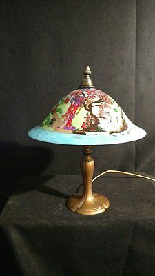 One of a Kind Hand Painted Slag Glass Lamp shade in Traditional Japanese Style,