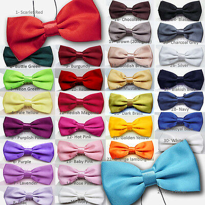 KIDS Plain Bow Tie Children Smart Fancy Dress Boys Black Wedding Dickie PreTied