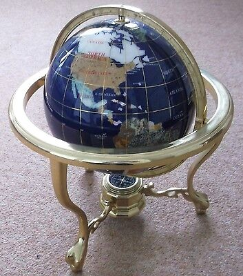 Large Gemstone Blue Lapis Globe World Compass Gold Tone Precious Stone Inlay