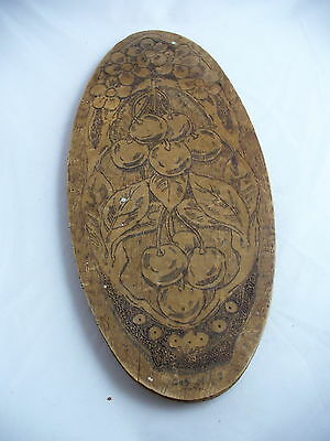 Vintage  Flemish Art Pyrography Wood Oval Wall Plaque Cherries Burnt Wood
