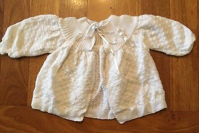 HAND KNITTED BABY CARDIGAN ~ AS NEW White WINTER WARM Girl