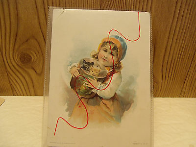 LION COFFEE 1893 Trade Picture Advertising Card,Lil Girl Woolson Spice Toledo,Oh