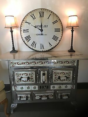 ANTIQUE FRENCH TILE STOVE WITH TILES AND CUSTOM MADE GRANITE TOP c. 1900