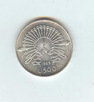 Italy 1985 500 Lire, KM123, silver, uncirculated
