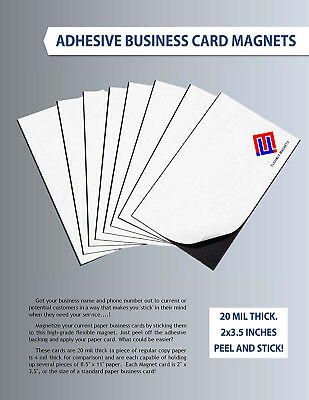 25 Self-adhesive Peel-and-stick Business Card Size Magnets. Fast free shipping!