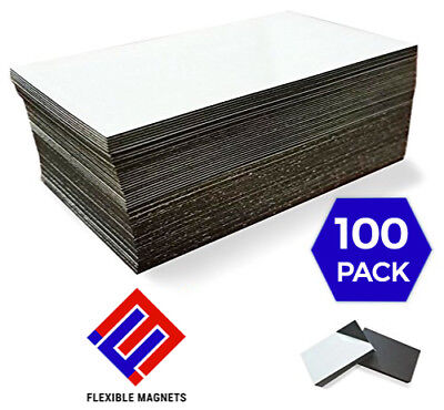100 Self-adhesive Peel-and-stick Business Card Size Magnets. Fast free shipping!