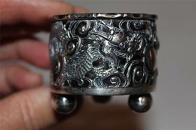 Superb Antique Sterling Silver marked HM Chinese Inkstand Brush HOLDER Dragons