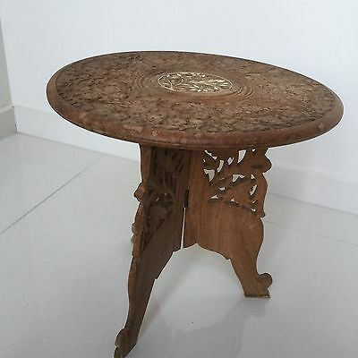 VINTAGE Indian Wooden Side Table (Small) ~ Legs foldable