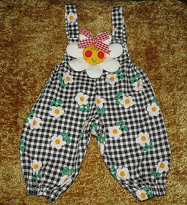 Adorable Vintage Childrens Apparel Network Floral Check Romper Overalls 0-6M Evc