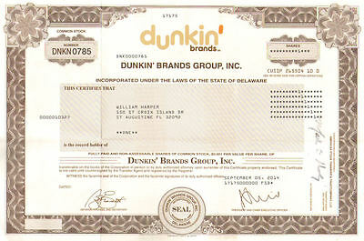 Dunkin Brands Group Inc. > Dunkin Donuts Baskin Robbins stock certificate