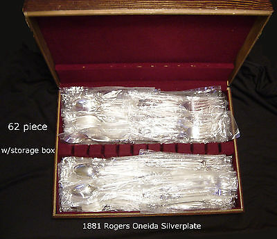 1881 ROGERS ONEIDA LTD. BAROQUE ROSE 62 Pieces Silver Plate New, never used