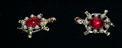 VTG PAIR TURTLE PINS - RED STONES, RHINESTONES, PEARLS -  DOME STYLE 1960s