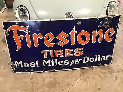 "Vtg Antique Porcelain FIRESTONE TIRE Advertising Sign ""Most Miles per Dollar"""