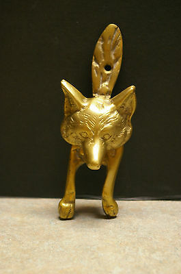 "Antique English Brass Fox 6"" Tall Door Knocker"