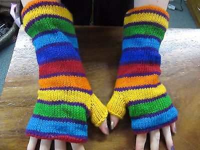 Funky Hippy Nepalese Rainbow Hand Knitted  Lined Warm Winter Fingerless Gloves