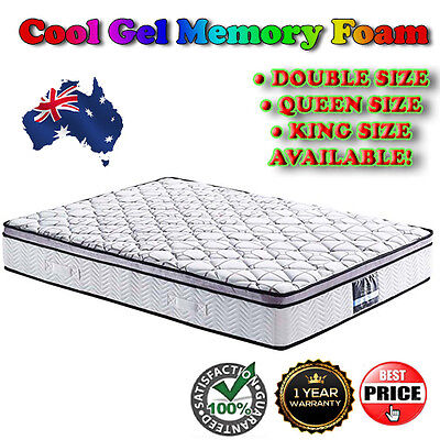 Cool Gel Memory Foam Mattress Matress Euro Top Pocket Spring Bed Bedding Sleep