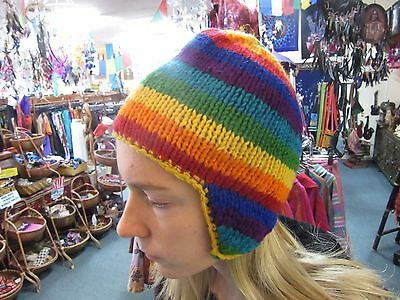 Funky Hippy Bright Rainbow Colourful Hand Knitted Lined Beanie with Ear flaps