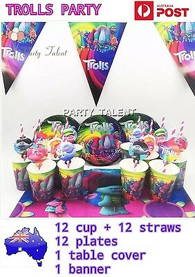 38 pcs TROLLS PARTY SUPPLIES trolls straws cup table cover banner