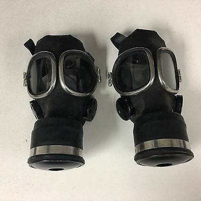 LOT of 2 Vintage Antique Respirator Gas Mask w/ Glass Goggles