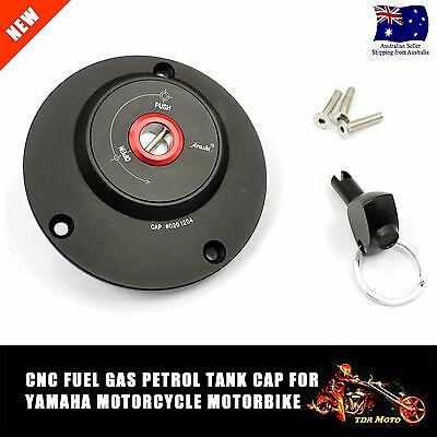 Black CNC Fuel Petrol Gas Cap + Key + Bolts Set For Yamaha FZ6 Motorcycle R6 R1