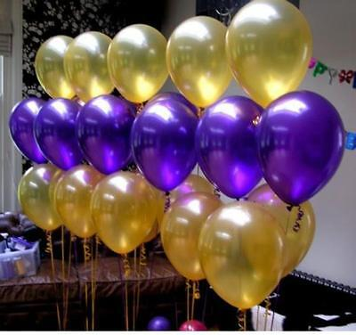 Metallic Gold & Purple Balloons (40PCE)-Party Decorations-Weddings-Helium QLTY