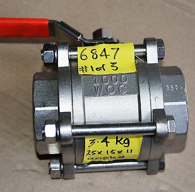 TURNFLO 2 inch 50mm 3 piece 316 WOG 1000 stainless steel ball valve NEW