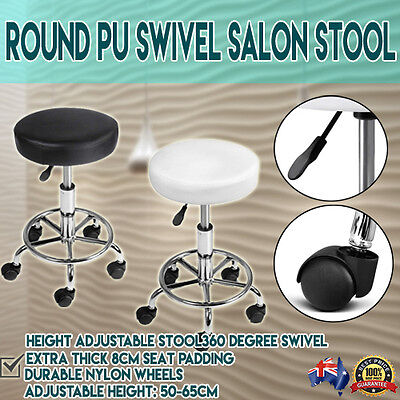 Swivel Stool with Wheels Black White with Gas Lift Lever